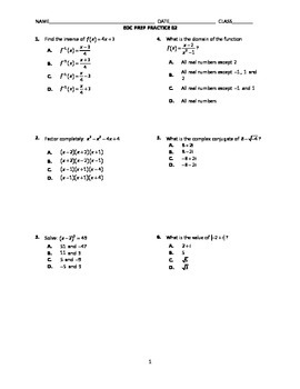 Algebra 2 End-of-Course Practice 02