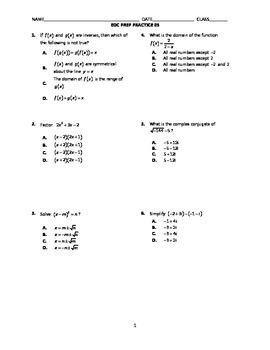 Algebra 2 End-of-Course Practice 03