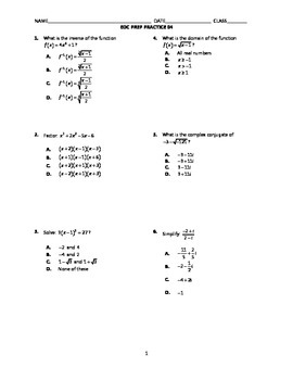 Algebra 2 End-of-Course Practice 04