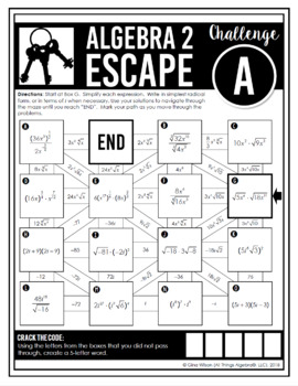 Algebra 2 End of Year EOC Review - Escape Room Activity by ...