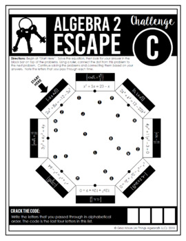 Algebra 2 End of Year EOC Review - Escape Room Activity