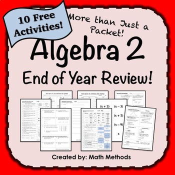 Algebra 2 End of Year EOC Review FREE SNEAK PREVIEW: More than just a packet!