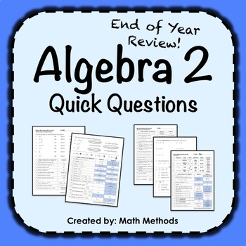 Algebra 2 End of Year Quick Questions Activity: Fix Common Mistakes!