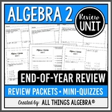 Algebra 2 EOC Review Packets + Editable Quizzes