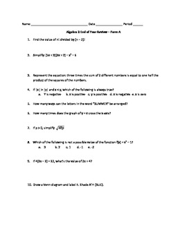 Algebra 2 End of Year Review Worksheet/Quiz