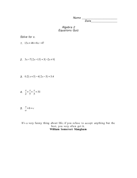 Algebra 2 Equations Quiz