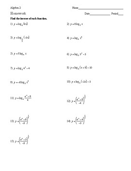 Algebra 2 - Exponential and Logarithmic Functions - Homework Pack
