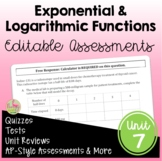 Exponential and Logarithmic Functions Assessments (Algebra