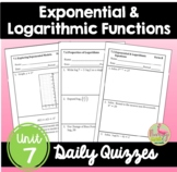 Exponential and Logarithmic Functions Daily Quizzes (Algeb