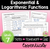 Exponential and Logarithmic Functions Essentials (Algebra