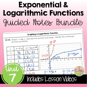 Algebra 2 Exponential and Logarithmic Functions Guided Notes Bundle