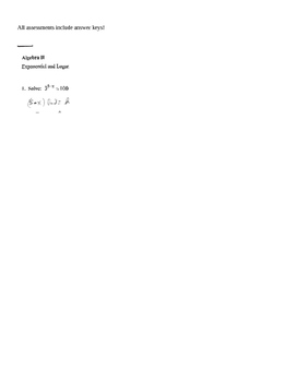 Algebra 2 Exponential and Logarithmic Functions, Modeling, Lab