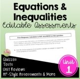 Expressions Equations Inequalities Assessments (Algebra 2