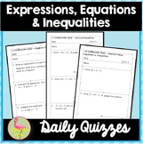 Expressions Equations and Inequalities Daily Quizzes (Alge