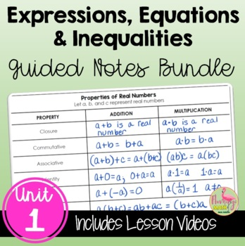 Algebra 2: Expressions Equations and Inequalities Guided Notes Bundle