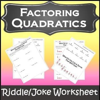 Factoring Trinomials Activity Factoring Polynomials Worksheet Tpt