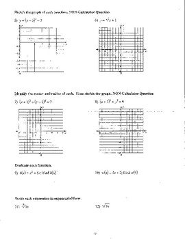 Algebra 2 Fall Final and Review with answer keys
