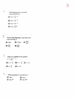 Algebra 2 Final (1st semester), Honors or Regular, Multiple Choics