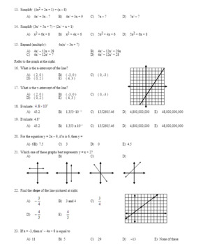 Algebra 2 Final Exam First Semester Review (Editable) with Key