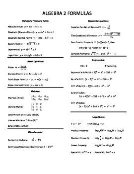Algebra 2 Final Exam Formula Sheet