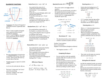 Algebra 2 Final Exam Review/Cheat Sheet