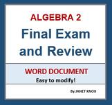 Algebra 2 Final Exam and Review