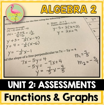Algebra 2: Functions Equations Graphs Assessments Only