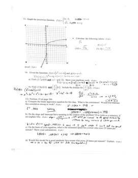 Algebra 2 Functions Test Review guide with answer key