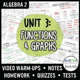 Functions and Graphs Unit Bundle (Algebra 2 Curriculum)