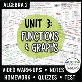 Functions and Graphs Unit Bundle (Algebra 2 Curriculum)