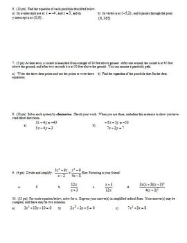 Algebra 2 Group Practice Test Quadratics and Complex Numbers (Editable)