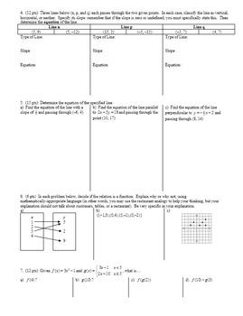 Algebra 2 Group Practice Test Unit 1 Linear Equations Fall 2015 (Editable)