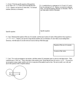 Algebra 2 Group Practice Test Unit 2 Factoring & Quadratics Fall 2015 (Editable)