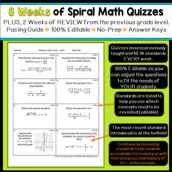Algebra 2 Spiral Review | Algebra 2 Homework or Warm Ups
