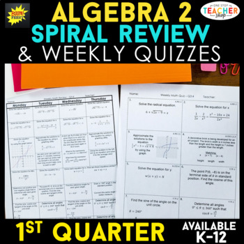 Algebra 2 Review | Homework or Warm Ups | 1st Quarter