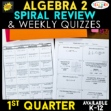 Algebra 2 Review   Homework or Warm Ups   1st Quarter