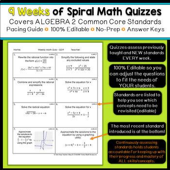 Algebra 2 Review | Homework or Warm Ups | 2nd Quarter