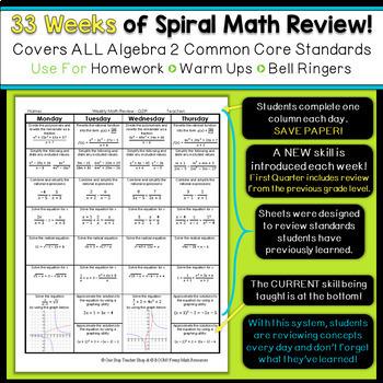 Algebra 2 Spiral Review | Algebra 2 Homework or Warm Ups