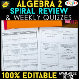 Algebra 2 Spiral Review | Algebra 2 Review Homework & Quiz BUNDLE