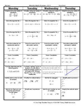Algebra 2 Spiral Review | 2 Weeks FREE