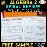 Algebra 2 Spiral Review & Weekly Quizzes | FREE