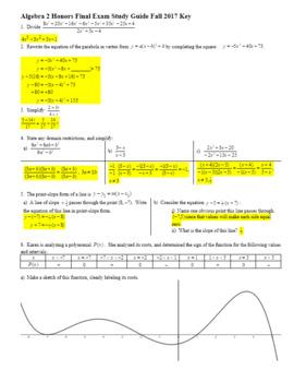 Algebra 2 Honors Final Exam Study Guide Fall 2017 with Key (Editable)