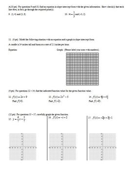 Algebra 2 Individual Test Functions Fall 2007; 2 versions; 3 pages each