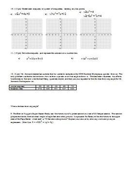 Algebra 2 Individual Test Linear Systems Fall 2007
