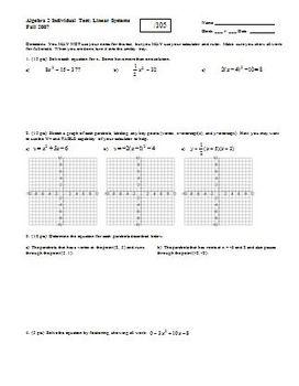 Algebra 2 Individual Test Linear Systems Fall 2007 (Editable)