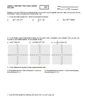 Algebra 2 Individual Test Linear Systems Fall 2007