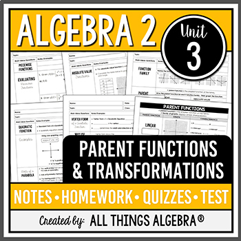 Parent Functions and Transformations (Algebra 2 - Unit 3)