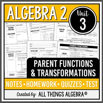 Parent Functions And Transformations Algebra 2 Curriculum Unit 3