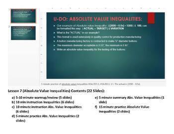 Algebra 2 Lesson Plan #7: Absolute Value Inequalities