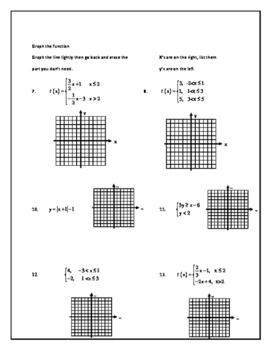 Algebra 2 Line of Best Fit and Piecewise Classwork page
